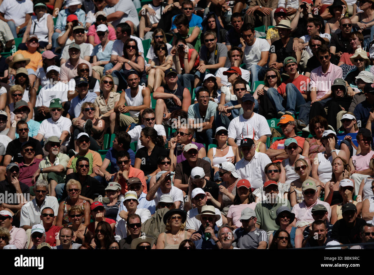 Section of the crowd at the 2009 French Open at Roland Garros - Stock Image