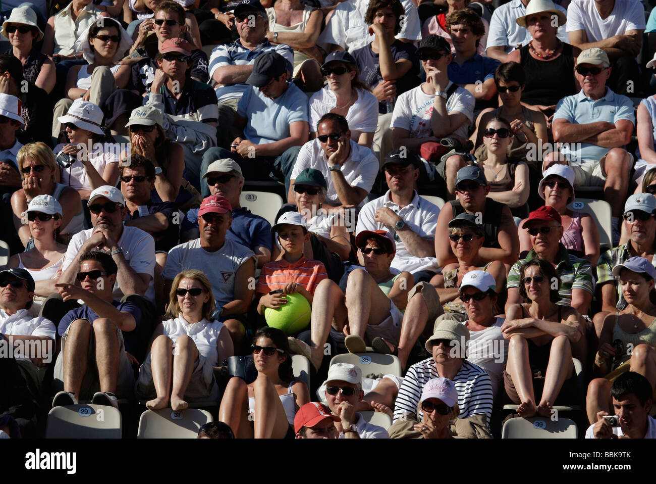 Section of the crowd at the French Open 2009 - Stock Image