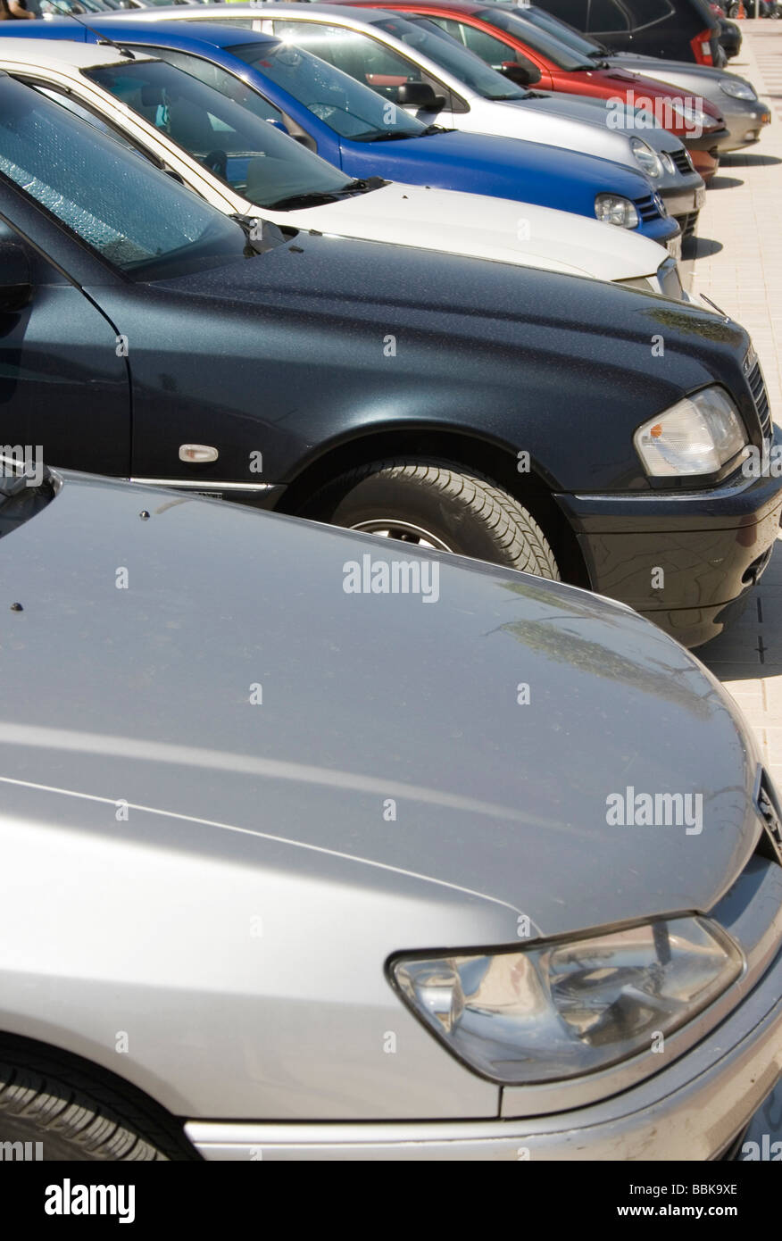 Row of parked cars - Stock Image