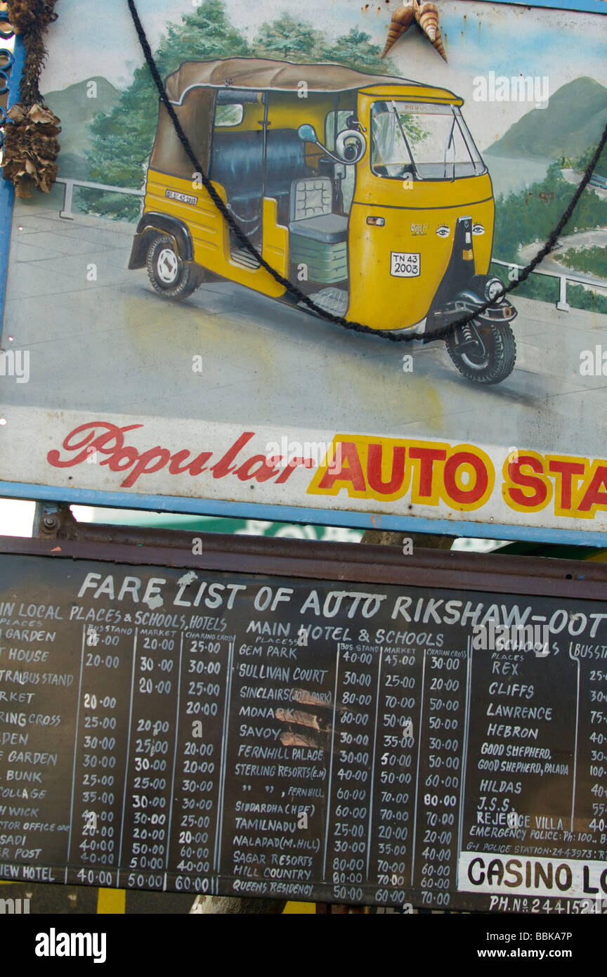 Fare list for an autorikshaw ride in Ooty. India, Tamil Nadu, Ooty (Udhagamandalam). - Stock Image