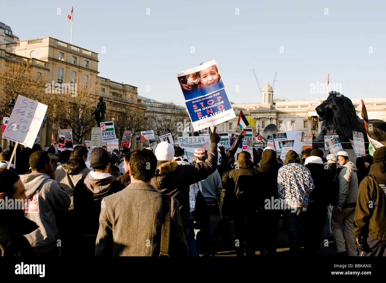 Demonstration anti Israel in London January 2009 Pro Palestinian manifest against the Israeli occupation of Palestine - Stock Image