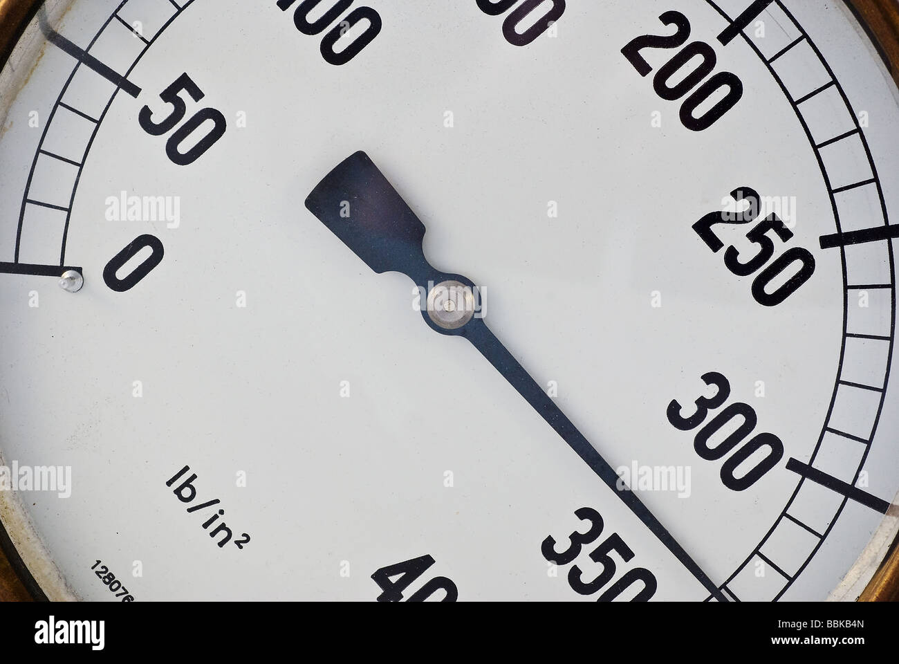 A macro shot of a section of a pressure gauge - Stock Image