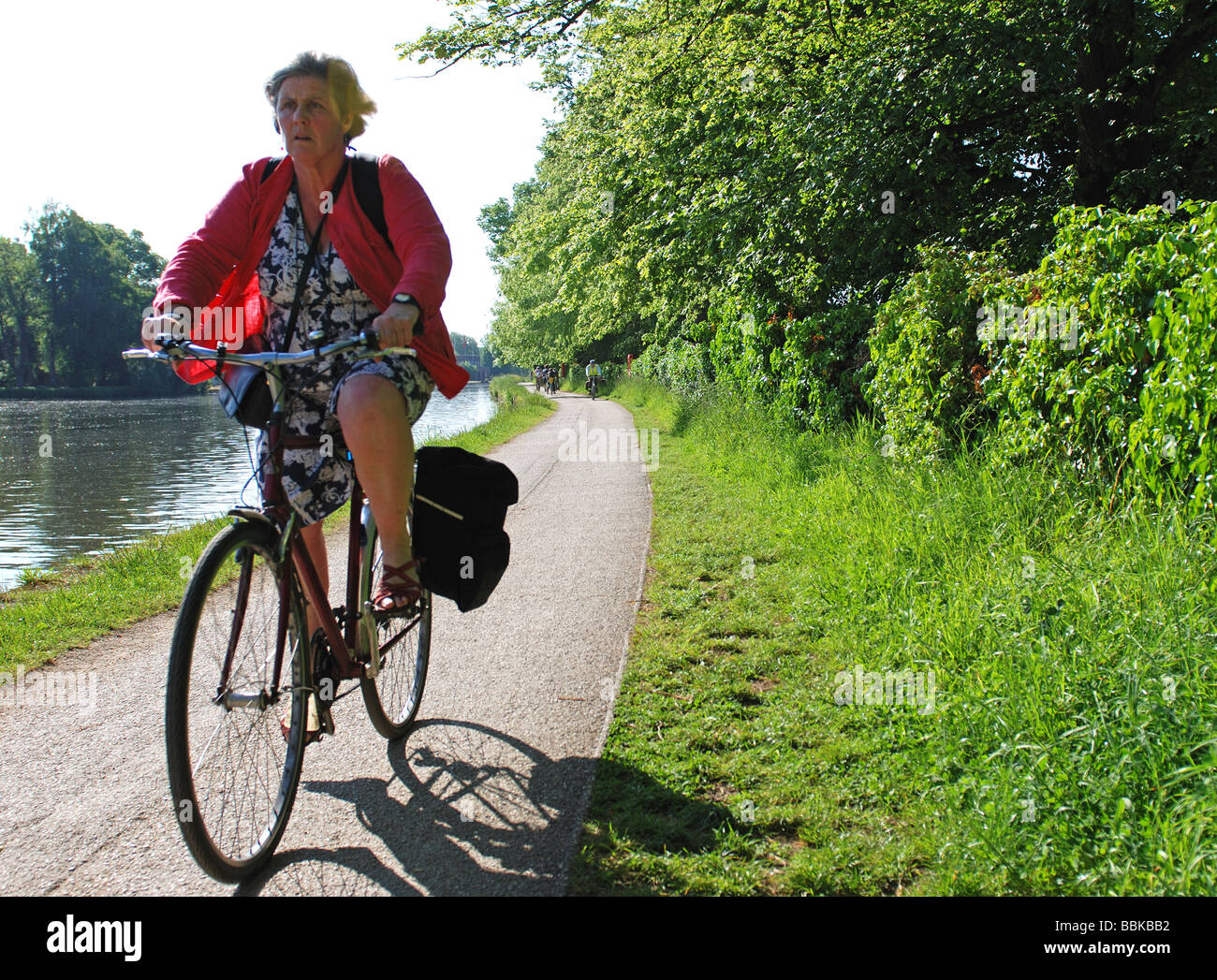 Cyclist on River Thames towpath ,Oxford, Oxfordshire, England, UK - Stock Image
