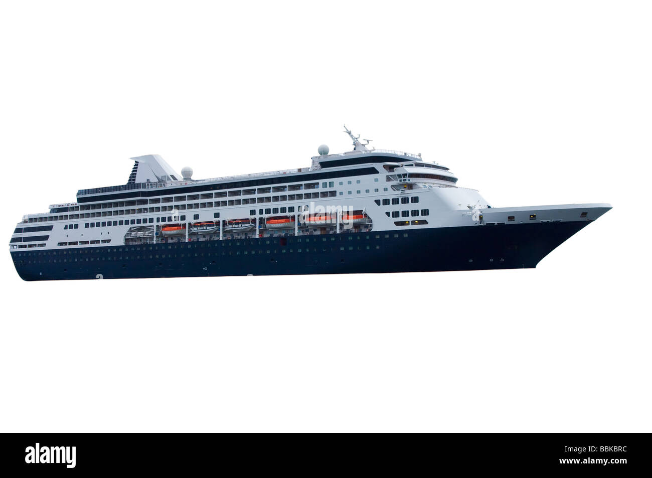 Cruise Ship with blue hull color - Stock Image