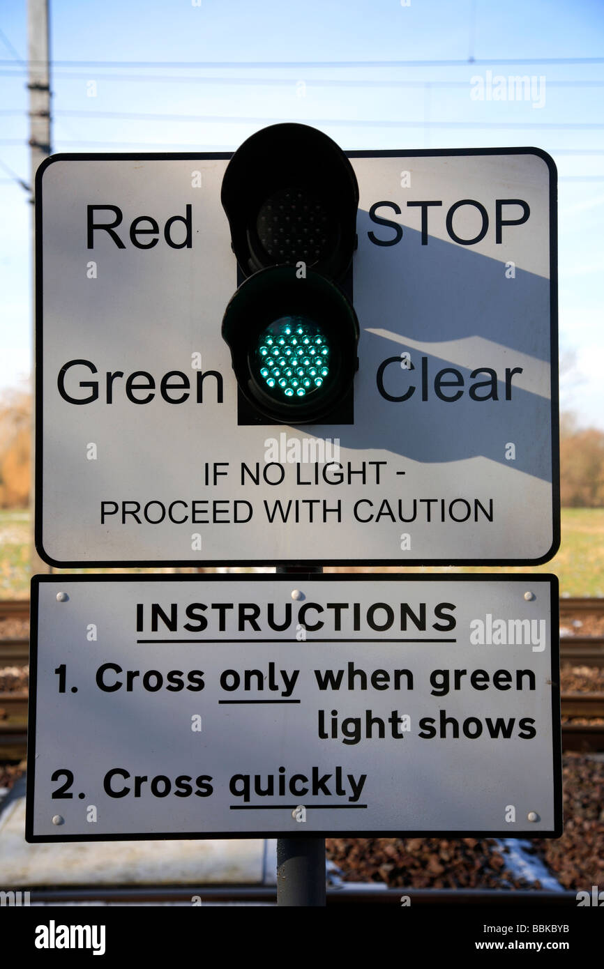 Green Light Crossing Signal East Coast Main Line Railway Peterborough  Cambridgeshire England UK