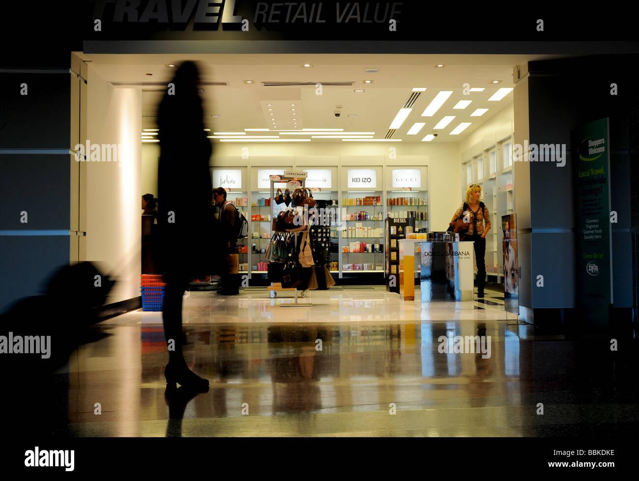 Duty free shop, Logan Airport, Boston, USA - Stock Image
