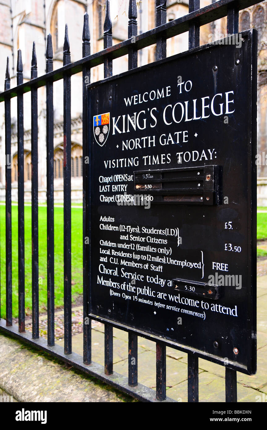 King's College entrance, Cambridge, England - Stock Image