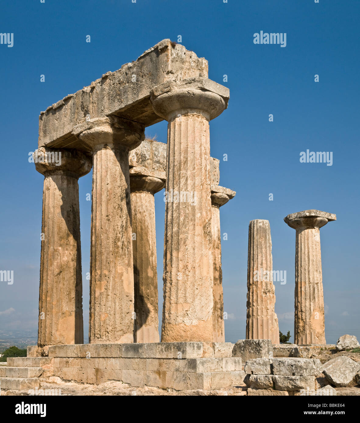 The 5th cen BC Temple of Apollo at Ancient Corinth Peloponnese Greece - Stock Image