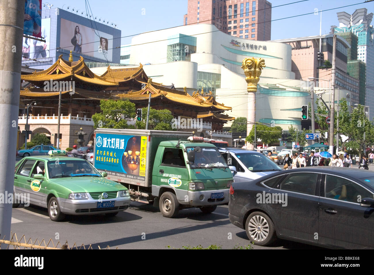 traffic chaos in shanghai China - Stock Image
