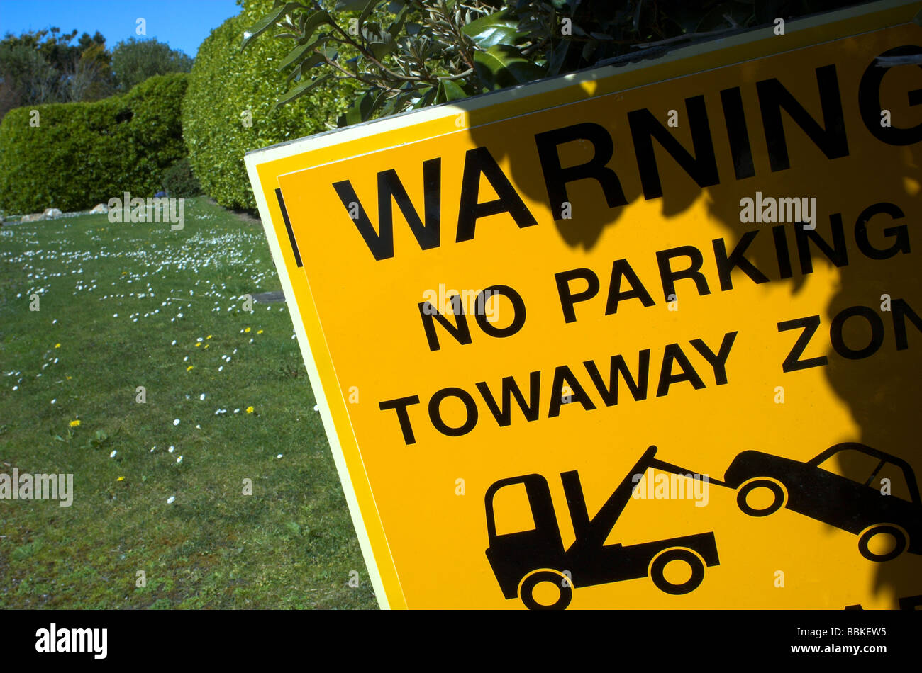 Sign warning of Towaway zone in country side - Stock Image
