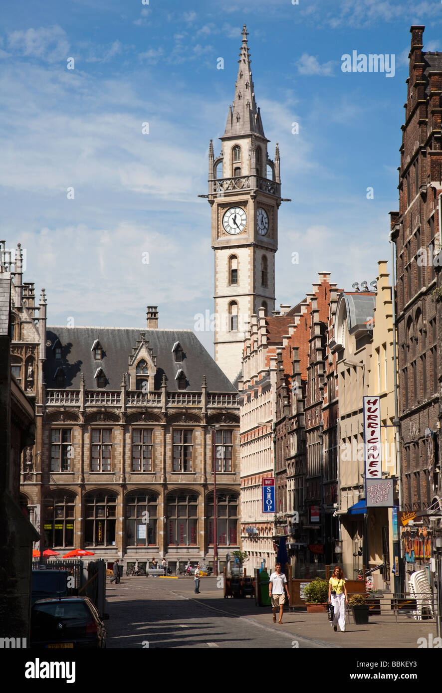 Street with shops and old buildings Ghent Belgium - Stock Image