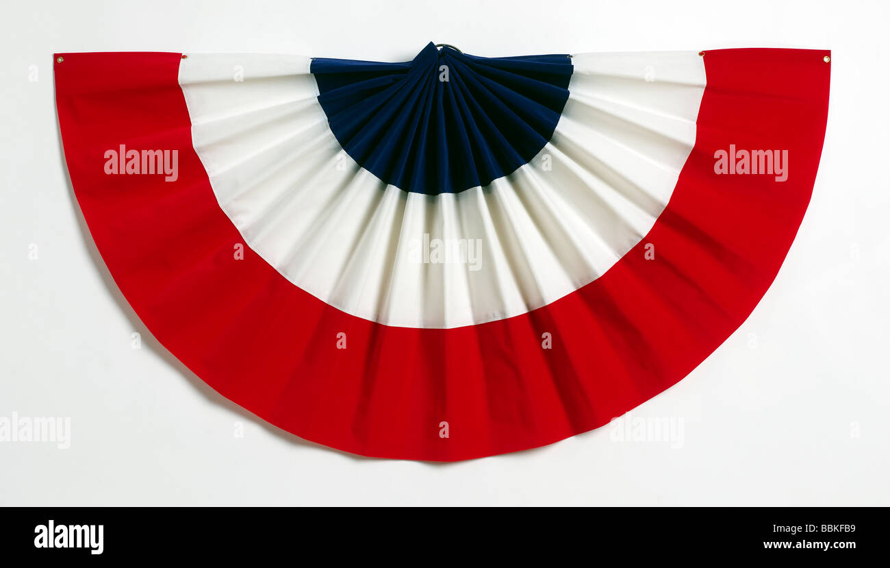 Bunting patriotic red white and blue - Stock Image