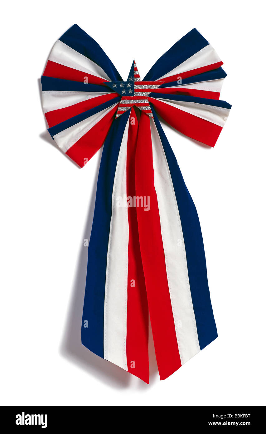 Patriotic Ribbon red white and blue - Stock Image
