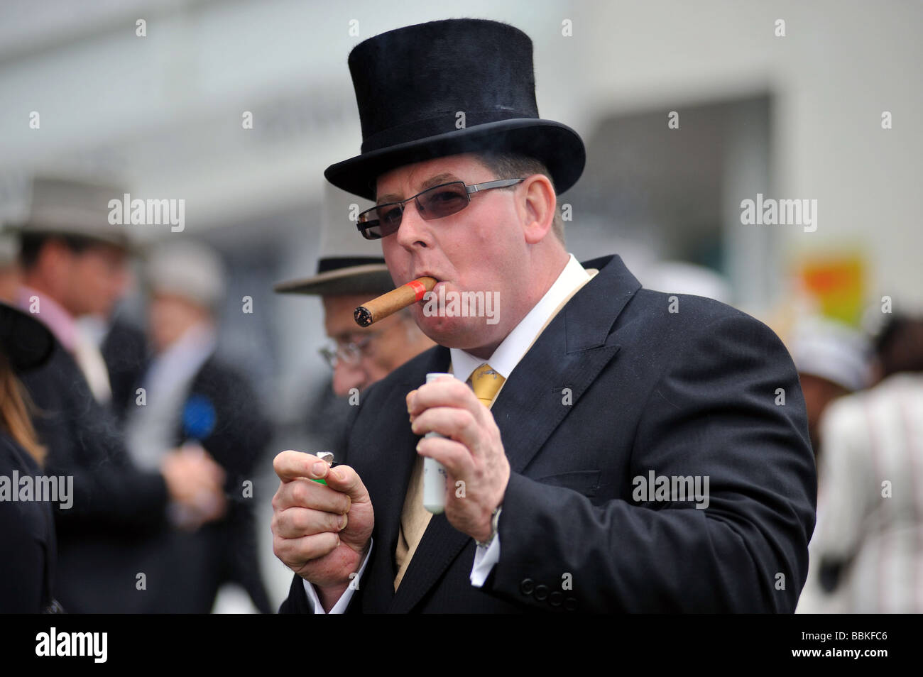 A Race Goer In A Top Hat Smoking A Large Cigar Derby Day