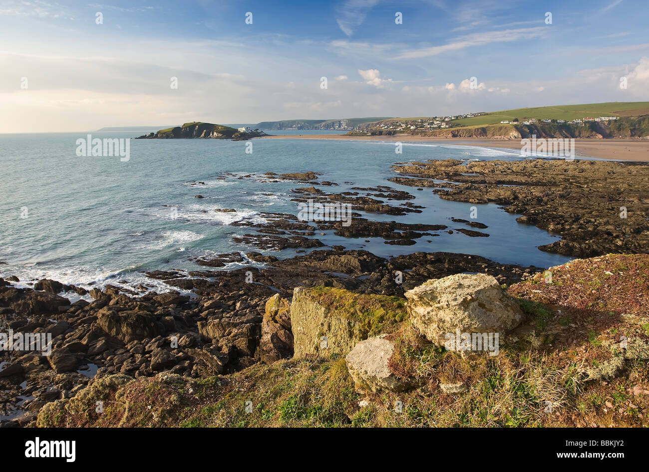 View of Burgh Island and Bigbury from Bantham Bay, South Devon, UK - Stock Image