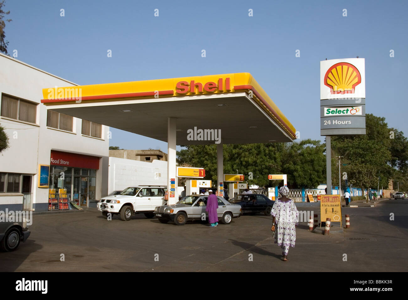 Cars filling up with fuel at Shell petrol station Banjul Gambia West