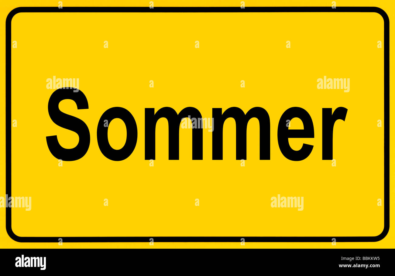Town sign, German lettering Sommer, symbolic of beginning of summer - Stock Image