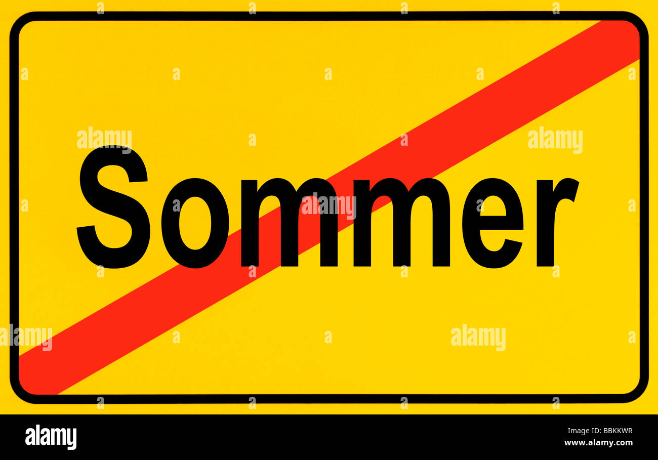 Town exit sign, German lettering Sommer, symbolic of end of summer - Stock Image