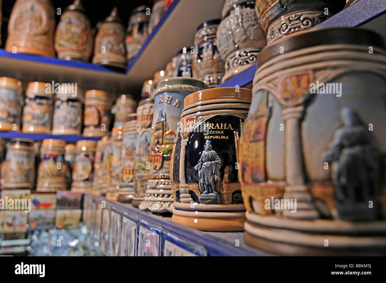Souvenir shop in a passage on Vltava River, Prague, Czech Republic, Europe Stock Photo