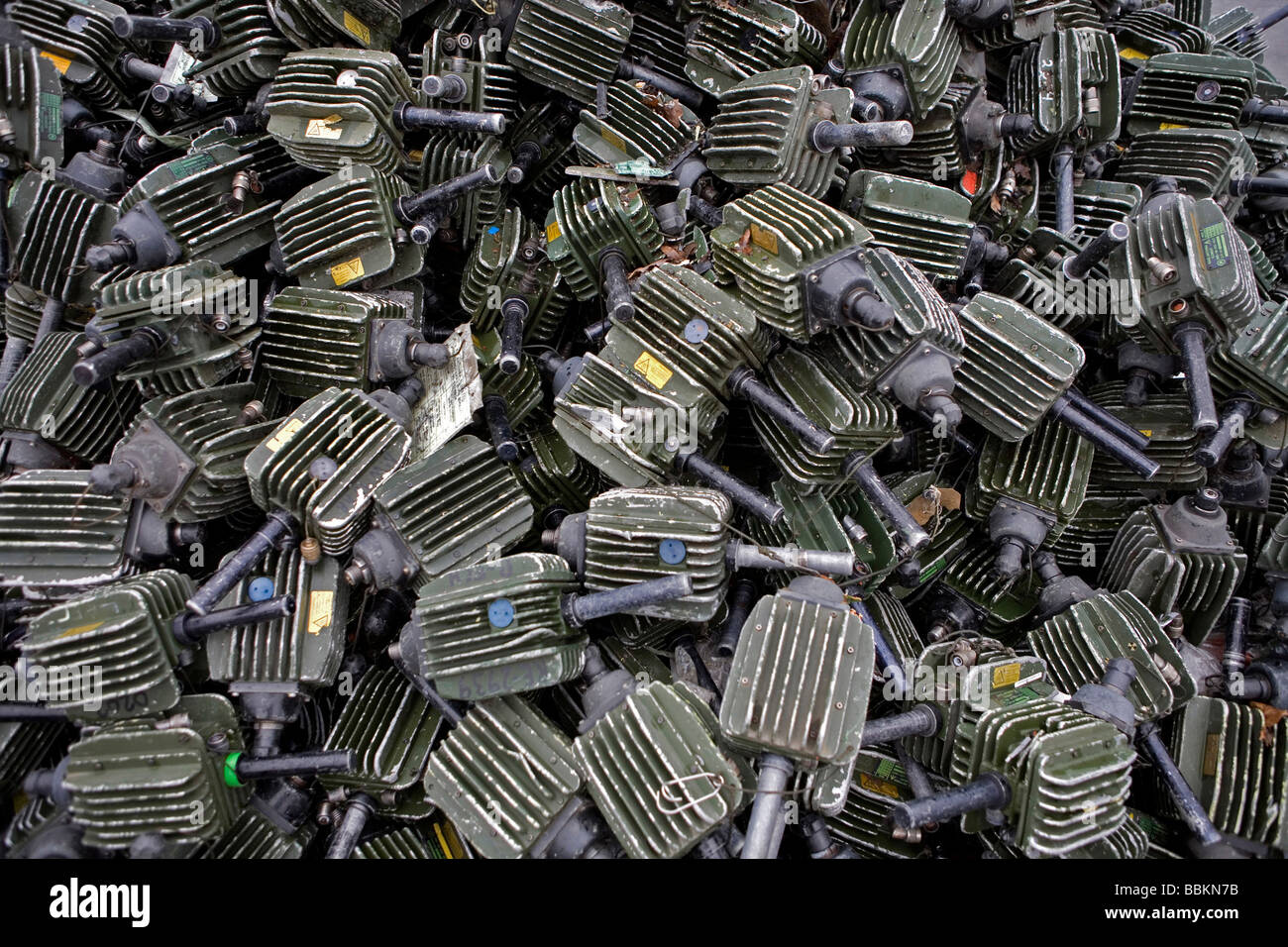 Recycling of electro engines All municipalities in The Netherlands are required to provide known collection points - Stock Image