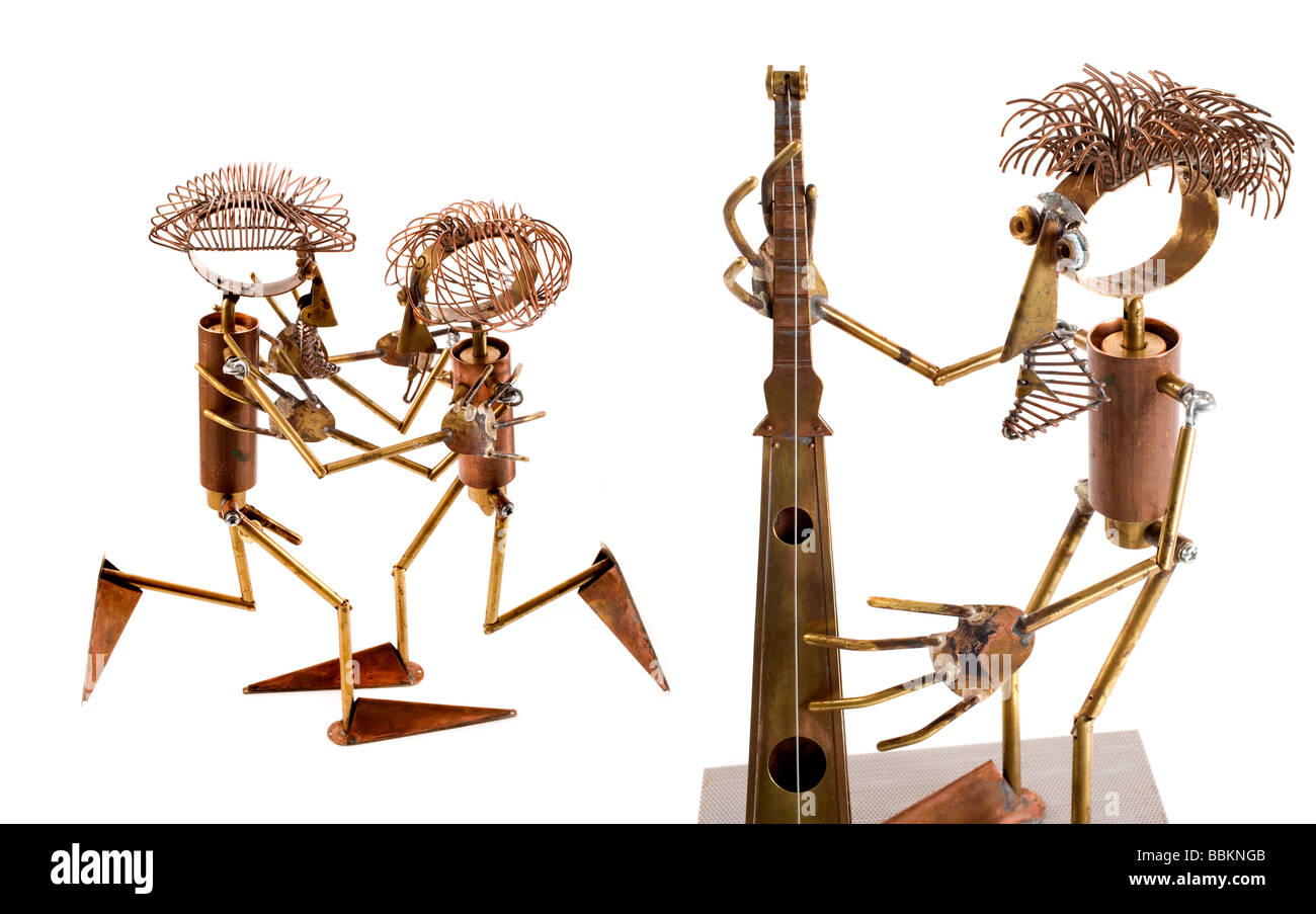 marionettes manufactured manually with different metals, political caricatures, work of art, workmanship, last Tango - Stock Image