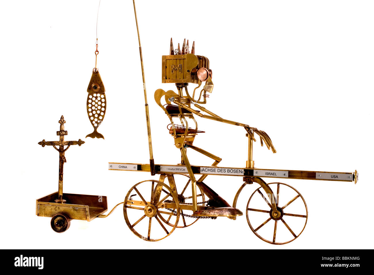 marionettes manufactured manually with different metals, political caricatures, work of art, workmanship, George - Stock Image
