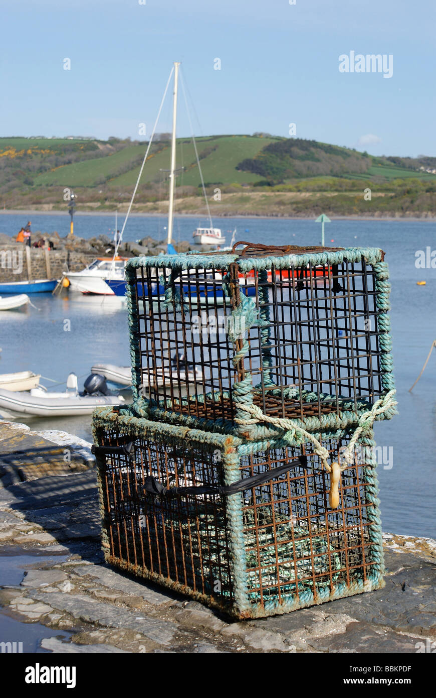 Lobster Cages at the Quayside, New Quay Harbour, Cardigan Bay, West Wales - Stock Image