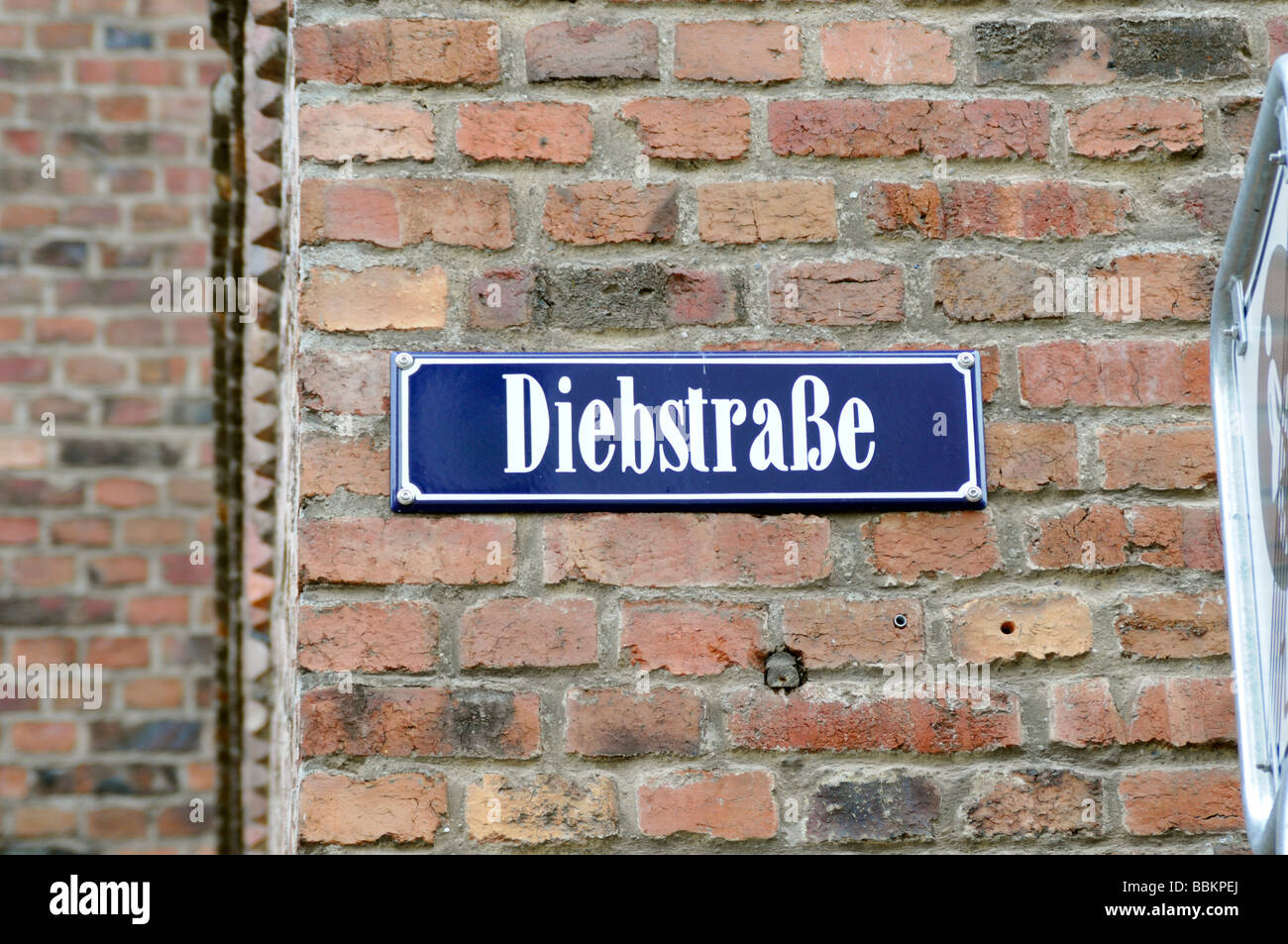 Street sign Diebstrasse, Wismar old town, Wismar, Mecklenburg-Western Pomerania, Germany, Europe - Stock Image