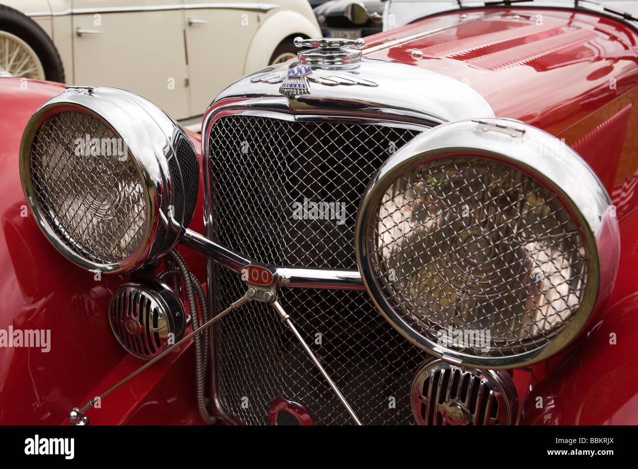Motoring front of classic old pre war 1937 British made SS100 car - Stock Image
