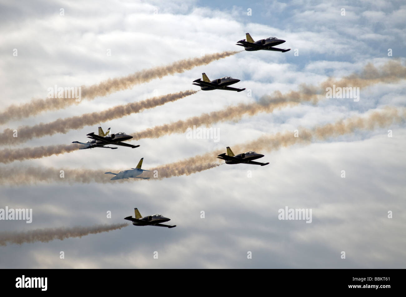 Ferte Alais Breitling Jet Team passing extremely close - Stock Image