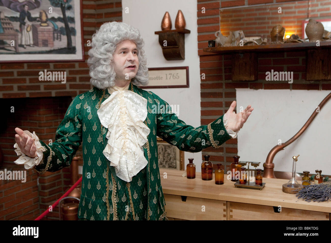 Guidance in a period costume through the Farina Museum - Stock Image