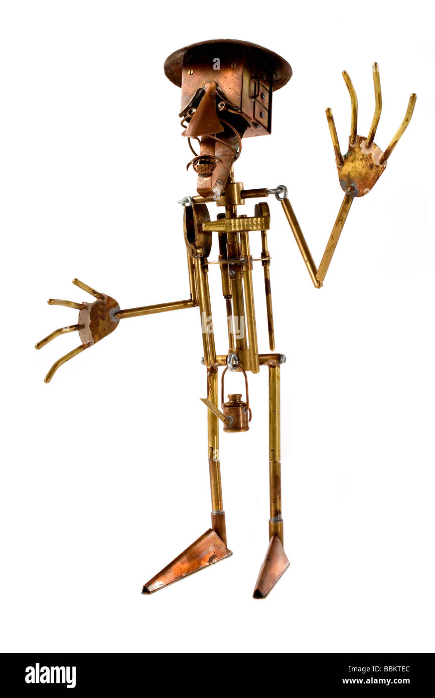 marionettes manufactured manually with different metals, political caricatures, work of art, workmanship, ideal - Stock Image