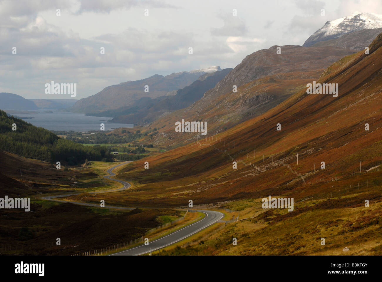 View on Kinlowewe and Loch Maree, Scotland, Great Britain, Europe - Stock Image