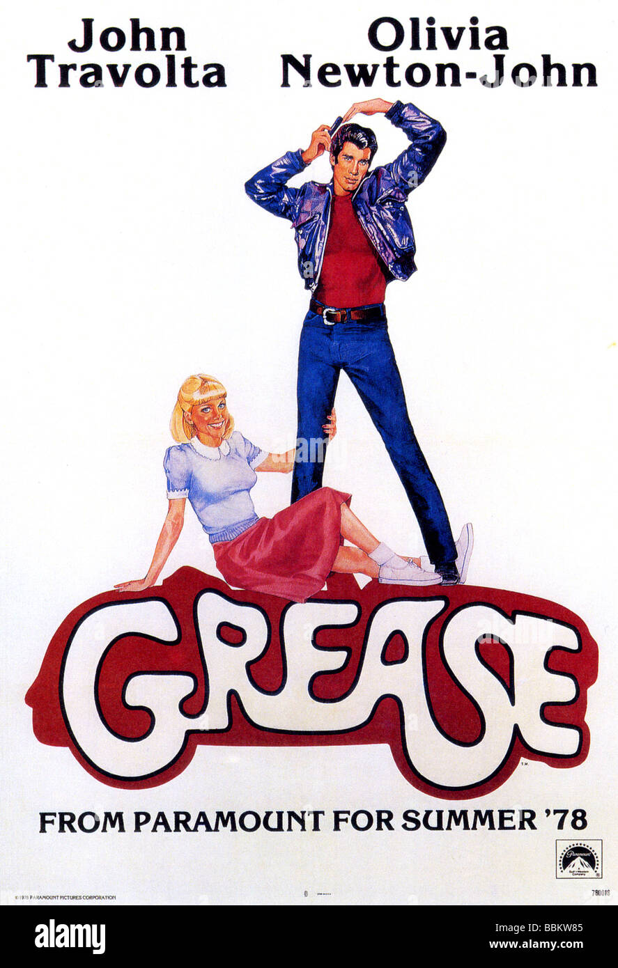 grease poster for 1978 paramount film with olivia newton