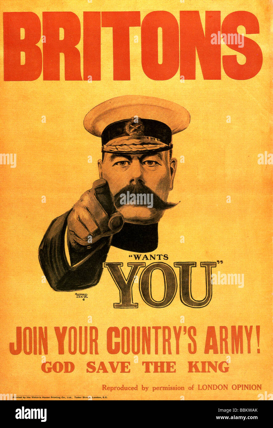 LORD KITCHENER UK army recruiting poster from WWI exists in several designs - Stock Image
