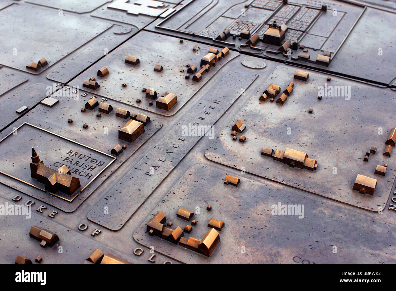 The bronze sculpture of a map of Colonial Williamsburg outside the Visitor s Center Colonial Williamsburg Virginia Stock Photo