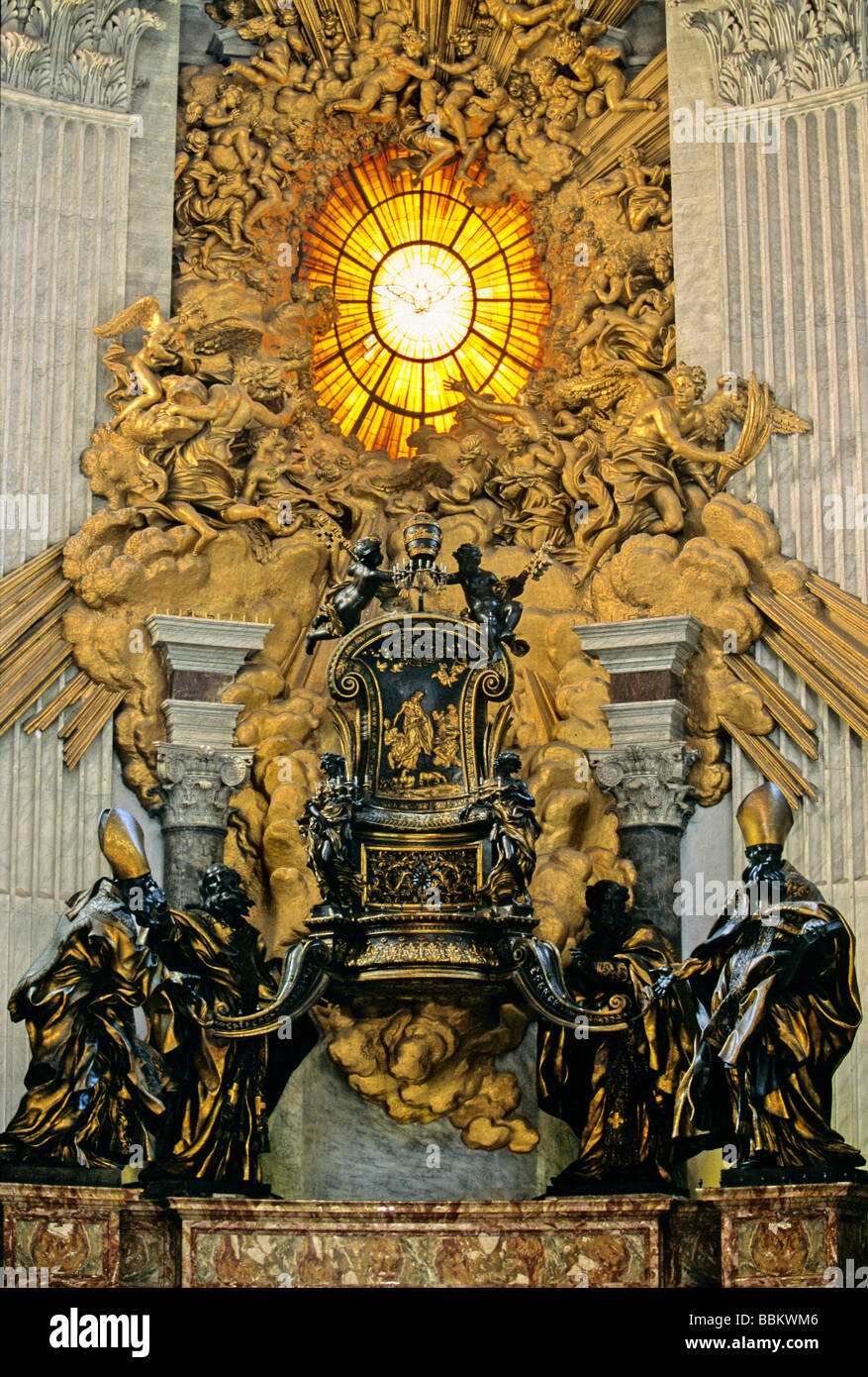 Cathedra Petri Chair Of Saint Peter With Glory Apse St