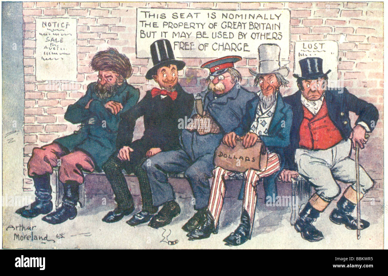 Picture postcard 'Chorus of Foreigners''  by Arthur Moreland postally used 1903 - Stock Image