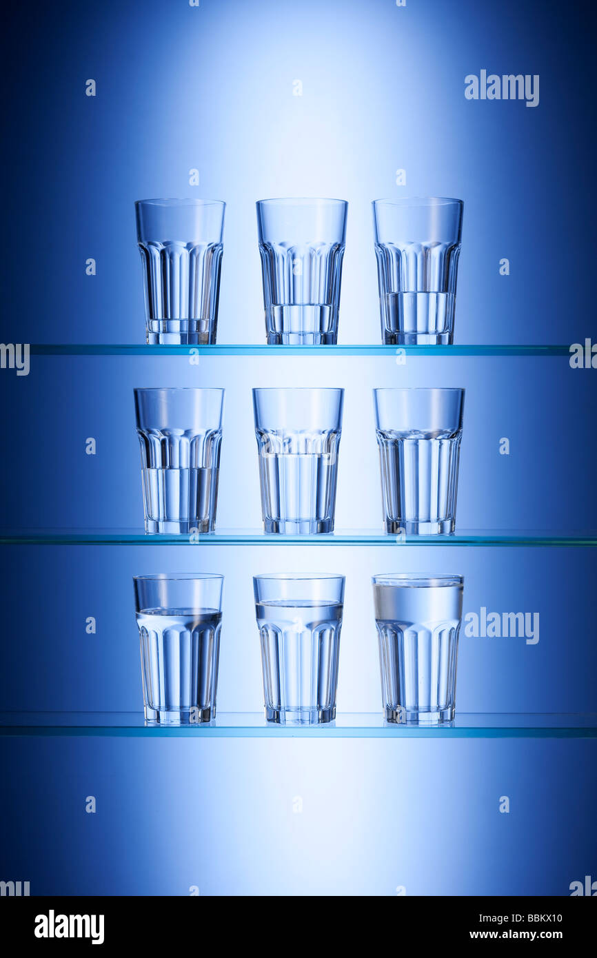 Glasses of drinking water Stock Photo