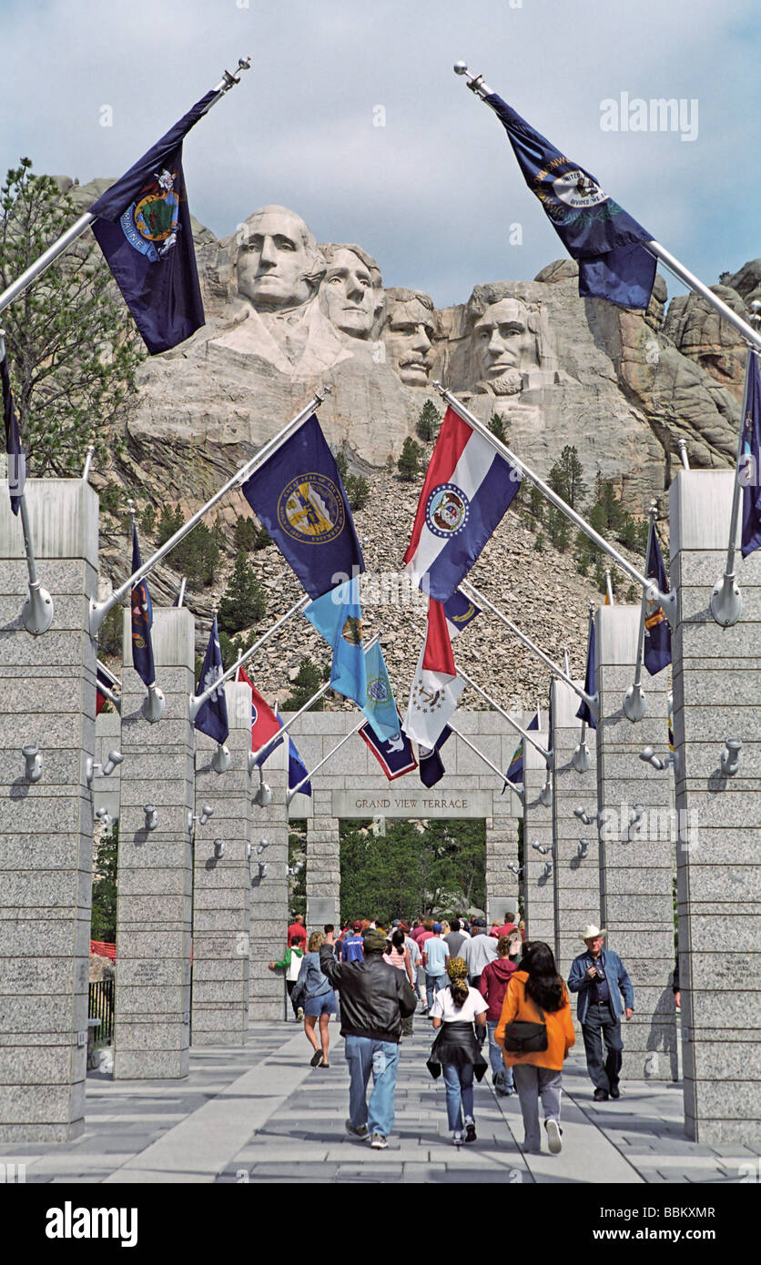 Visitors at Mount Rushmore National Memorial in the Black Hills of South Dakota Stock Photo