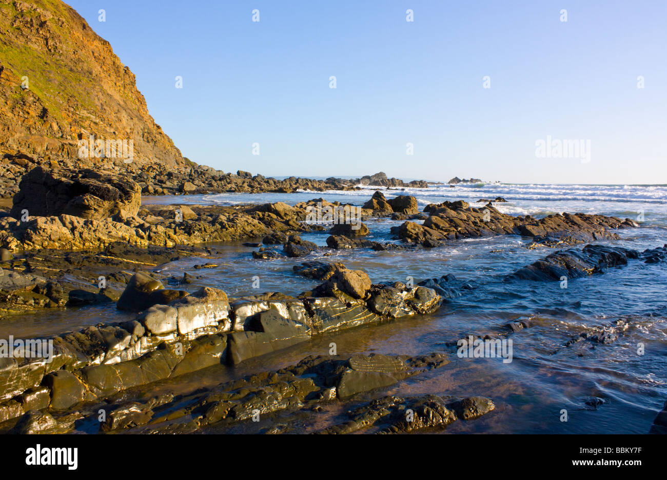 Rocky Duckpool Beach North Cornwall England UK - Stock Image