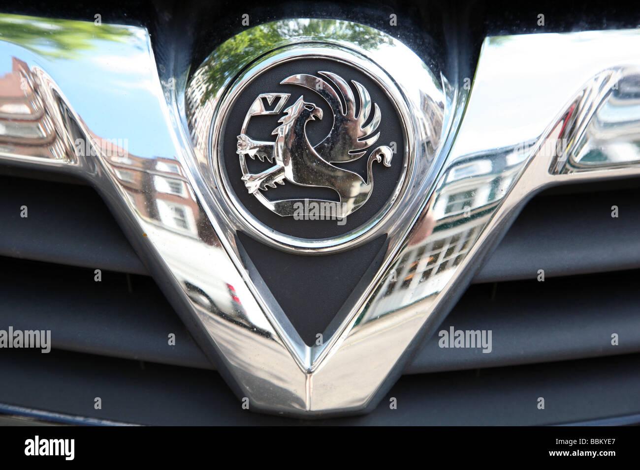 Badge on Vauxhall car, London - Stock Image