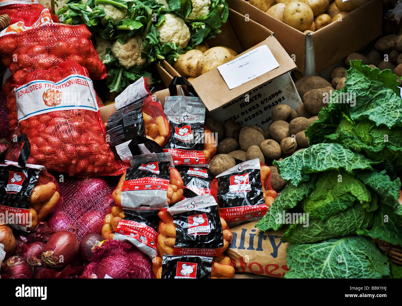 Sacks of vegetables and boxes of potatoes.  Photo by Gordon Scammell - Stock Image