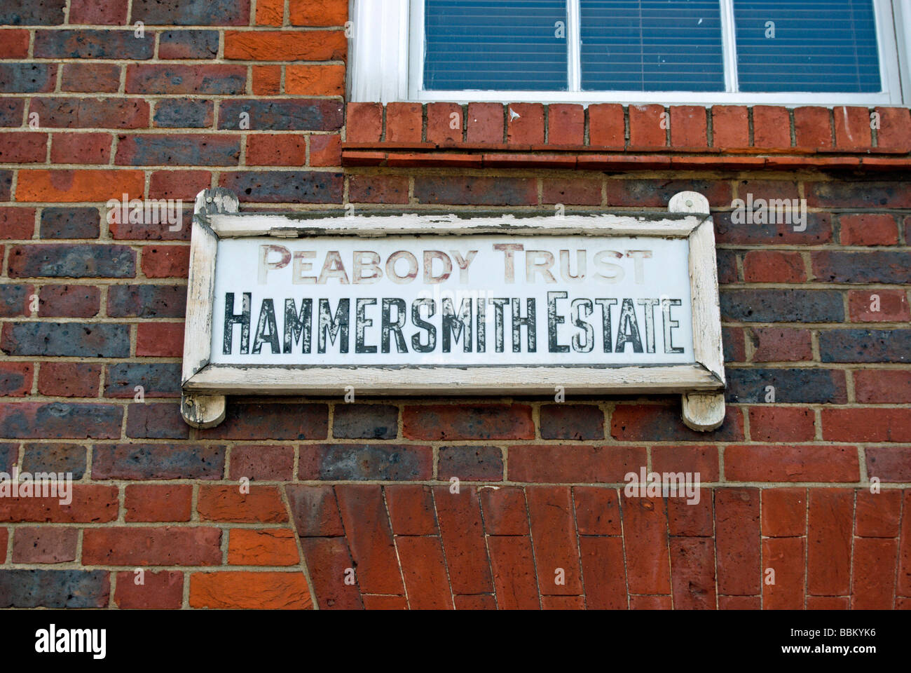 wall sign for peabody trust hammersmith estate, in hammersmith, west london, england - Stock Image