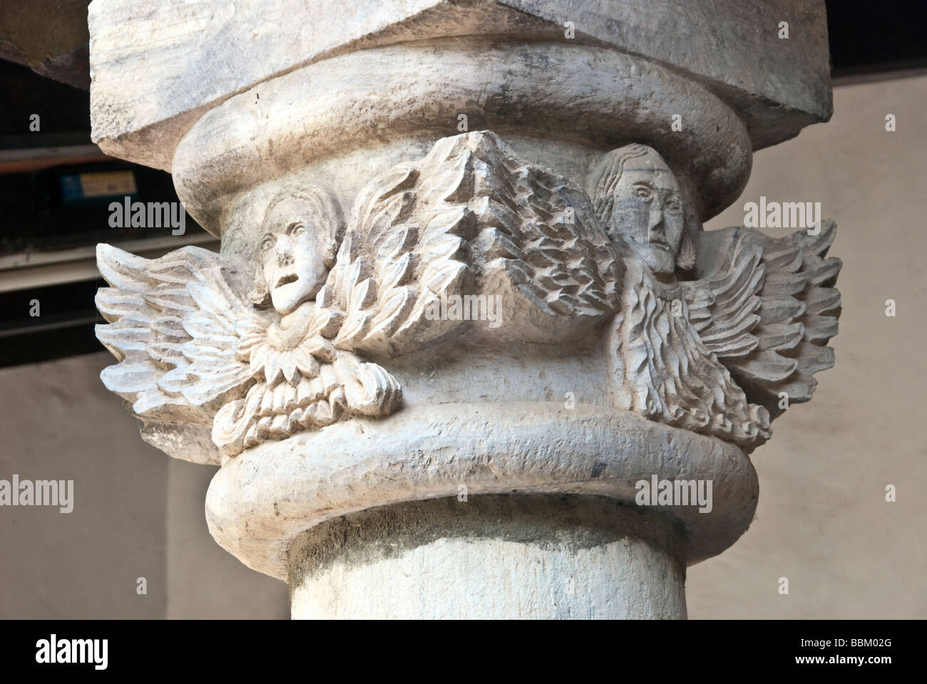 primitive angel column capital in the cloister of the Teotitla Church of the Sacred Blood of Christ, Teotitlan, - Stock Image
