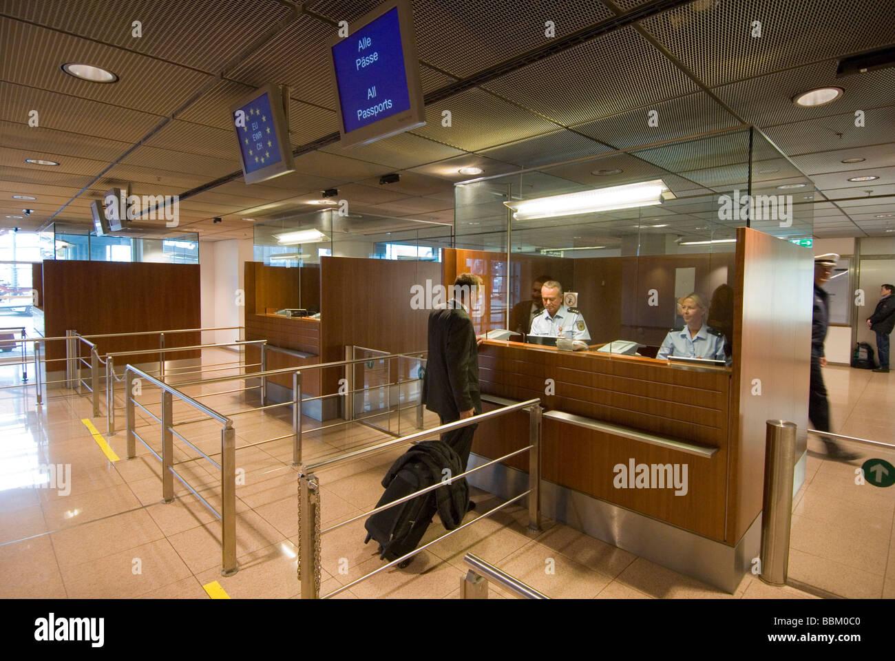 Security officers, security checks, man, Hamburg Airport, Hamburg, Germany - Stock Image