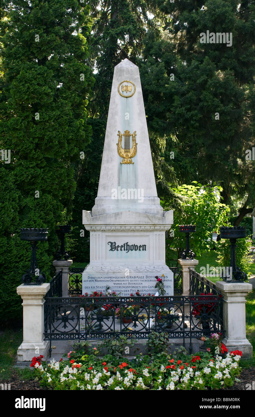 The tomb of Ludwig van Beethoven Central cemetery Vienna - Stock Image