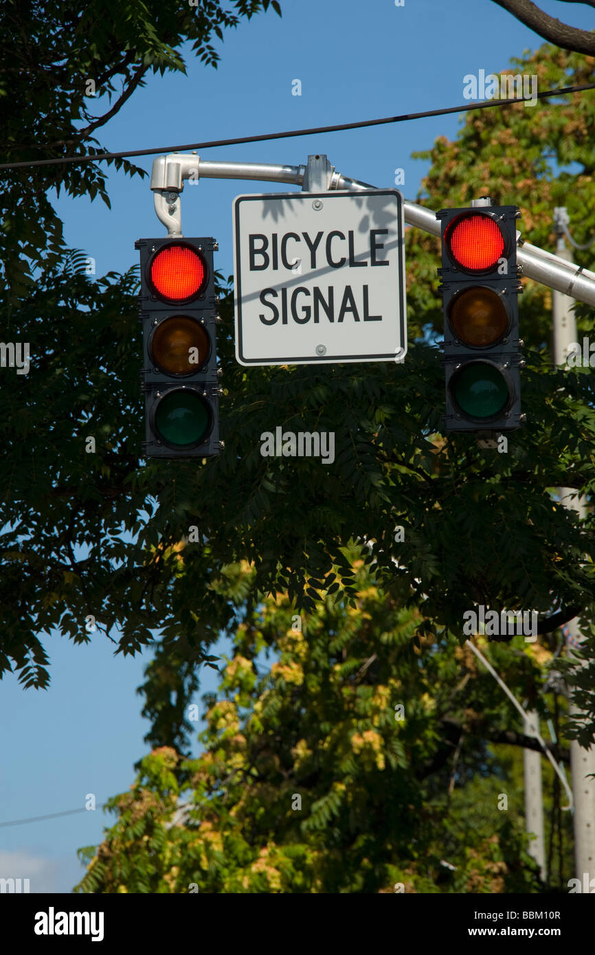 Designated bicycle traffic signal, Ontario - Stock Image
