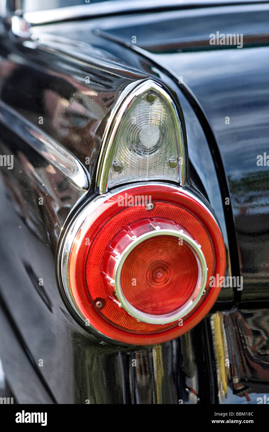 Tailfin and rear light of an American classic car - Stock Image