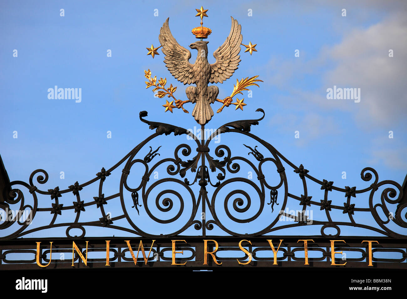 Poland Warsaw University gate Polish Eagle - Stock Image